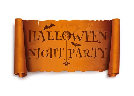 Antique papyrus with inscription - Halloween night party. Vintage curved halloween orange banner isolated on white background. Vector illustration