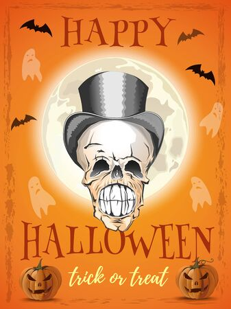 Halloween poster design. Smiling skull on a background of the full moon. Cheerful skull in a hat. Trick or treat. Vector illustration Illustration
