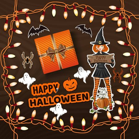 Preparing for the celebration of Halloween. Happy Halloween. Table with gifts for Halloween view from above. Vector illustration Illustration