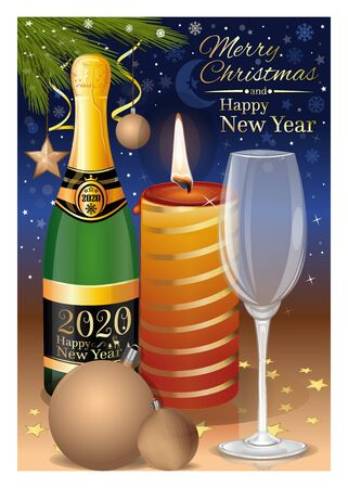 New Years Eve 2020. Festive New Years table with a burning candle and champagne. Vector illustration