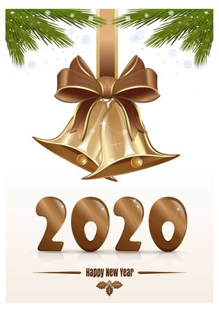 Gold figures 2020. Happy New Year. Christmas design design with jingle bells. Vector Christmas card