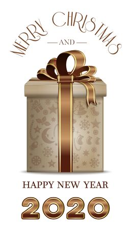 Christmas banner 2020 with gift box. Merry Christmas and Happy New Year. Vector illustration
