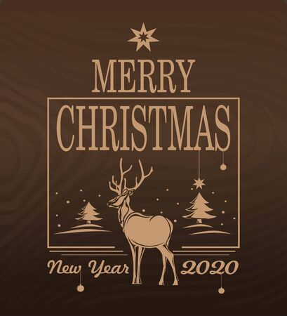 New year 2020. New year design with reindeer on the background of Christmas trees. Vector illustration