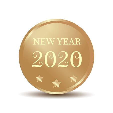 Gold coin with an inscription - New Year 2020. Vector illustration isolated on white background Illustration
