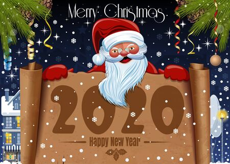 Merry Christmas and Happy New Year 2020. Xmas poster or greeting card. Merry Santa Claus wishes Happy New Year. Vector illustration