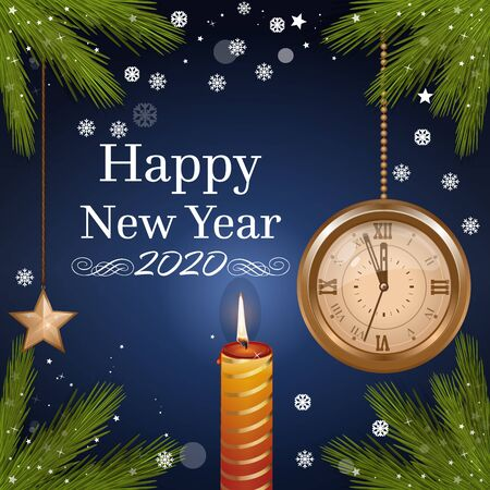 Happy New Year. New Year 2020. Antique gold watch shows five minutes to midnight. Vector illustration