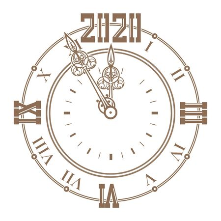 Dial of a vintage watch with curly hands shows five minutes to the New Year 2020. Watch dial 2020. Silhouetted of an ancient clock with Roman numerals. Vector illustration Illustration