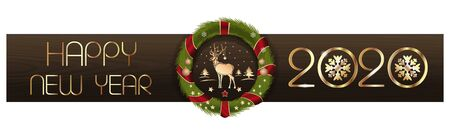 Happy New Year 2020. Christmas design. Christmas wreath on the background of wooden boards and greeting inscriptions. Vector illustration Illustration
