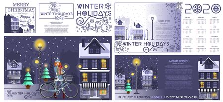 Set of New Year cards and calendar for 2020th year in English. Merry Christmas and happy New Year. Winter holidays. Vector illustration Illustration