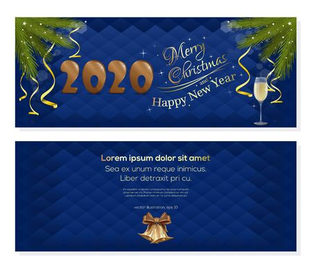 New Year 2020. Christmas card with fir branches and jingle bells. Vector illustration Illustration