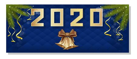 New Year design 2020. The inscription 2020 on a festive blue background. Year 2020. Vector illustration