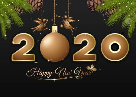 Happy New Year 2020. Greeting card for Christmas and New Year. Vector illustration