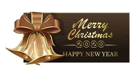 Wooden banner with golden Christmas jingle bells for New Year 2020. Merry Christmas and Happy New Year. Vector illustration