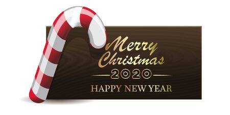 Wooden banner with Christmas red-white candy for New Year 2020. Merry Christmas and Happy New Year. Vector illustration