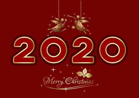 Merry Christmas 2020. Christmas greeting card. Christmas logo design with Christmas angels and gold lettering on a red background. Vector illustration Illustration