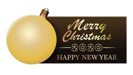 Wooden banner with Christmas tree toy for New Year 2020. Merry Christmas and Happy New Year. Vector illustration