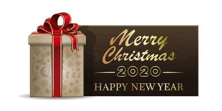 Wooden banner with Christmas gift box for New Year 2020. Merry Christmas and Happy New Year. Vector illustration Illustration