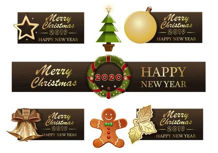 Set of Christmas symbols for the New Year 2020. Collection of christmas banners. Vector illustration