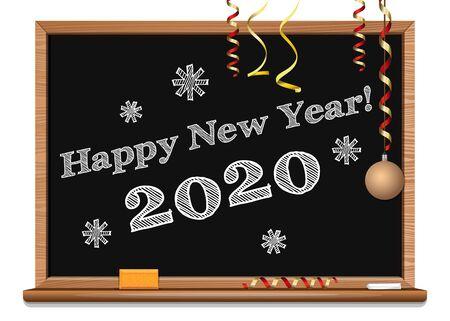 Happy New Year 2017. Christmas greetings written on the blackboard. Vector illustration