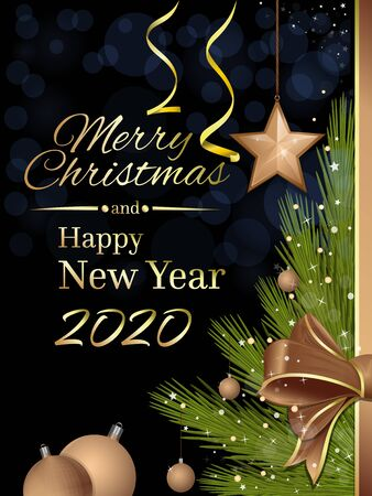 Christmas and New Year 2020. Greeting card with a festive Christmas tree and congratulatory inscription. Happy New Year. Vector illustration