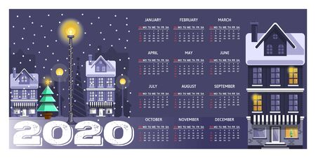 Calendar for 2020 decorated in the style of winter holidays. Calendar with a snow-covered city. Calendar 2020 in English. Week Starts Sunday. Vector illustration Illustration