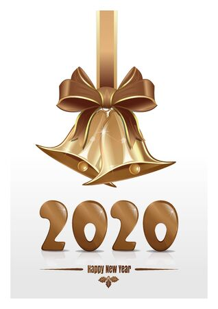 Christmas design for New Year 2020 with jingle bells. Christmas greeting card 2020. Vector illustration