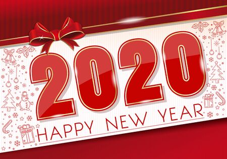 New Year card 2020 with red ribbon and bow Illustration