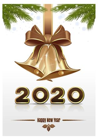 Christmas card for New Year 2020 with jingle bells