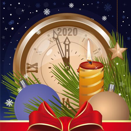 Greeting card for Christmas and New Year 2020. Christmas toys, clock, fir branches, falling snow and burning candle against the night winter sky. Vector illustration