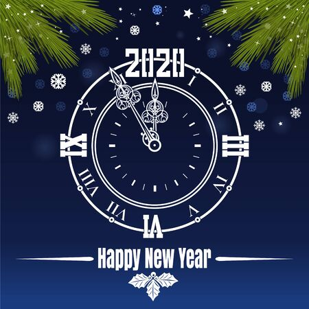 Christmas greeting card with clock in winter sky