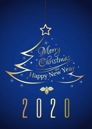 Christmas logo 2020 with christmas tree. Golden stylized christmas tree on deep blue background. Vector illustration