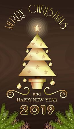 Vertical banner with Christmas tree for New Year 2020. Merry Christmas and Happy New Year. Vector illustration