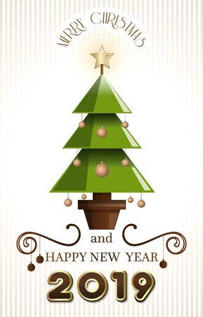 Greeting card with Christmas tree for New Year 2020. Merry Christmas and Happy New Year. Vector illustration