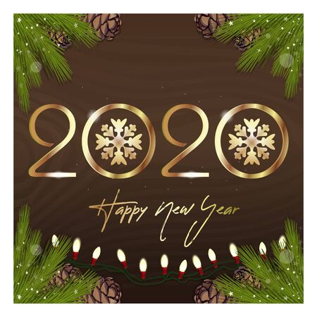 Happy New Year 2020. Congratulatory inscription on a wooden surface with fir branches and electric garland. Vector illustration Illustration