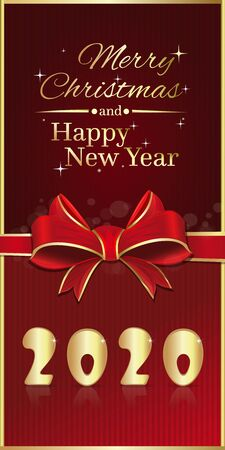 Red vertical festive banner for Christmas and New Year 2020. New year red flyer with ribbon and bow. Vector illustration