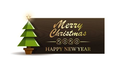 Wooden banner with Christmas tree for New Year 2020. Merry Christmas and Happy New Year. Vector illustration