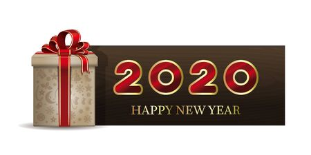Wooden banner with Christmas gift box for New Year 2020. Happy New Year. Vector illustration