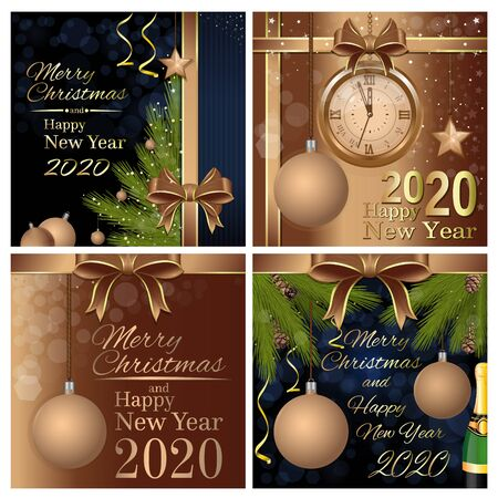 Merry Christmas and Happy New Year 2020. Greeting card set with a Christmas tree and congratulatory inscription. Vector illustration Illustration
