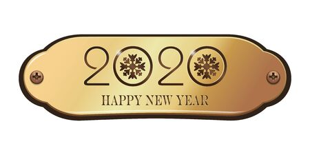 Happy New Year 2020. Greeting inscription on a gold plate. Vector illustration isolated on white background