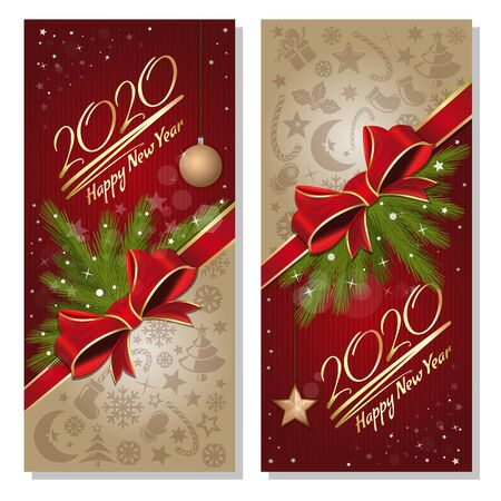 Set of festive vertical New Year flyers. Happy new year 2020. Christmas cards collection. Vector illustration