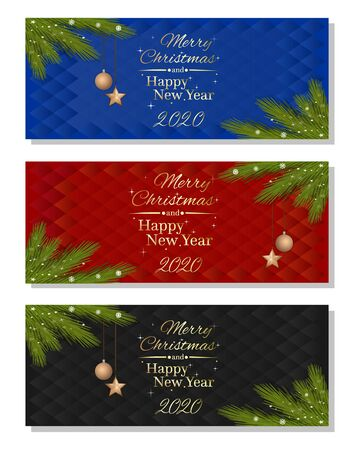 Multicolored horizontal banner set for New Year 2020. Merry Christmas and Happy New Year. Vector illustration Illustration