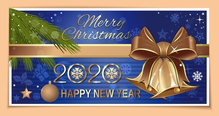 Blue horizontal banner with gold jingle bells for New Year 2020. Merry Christmas and Happy New Year. Vector illustration