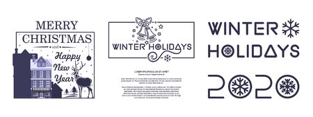 New Year and Christmas 2020 design set. Collection of emblems and banners for the winter holidays 2020. Vector illustration Illustration