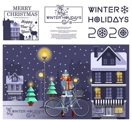 New Years design set. Winter holidays 2020. Greeting christmas card with cute girl in night winter city. Vector illustration