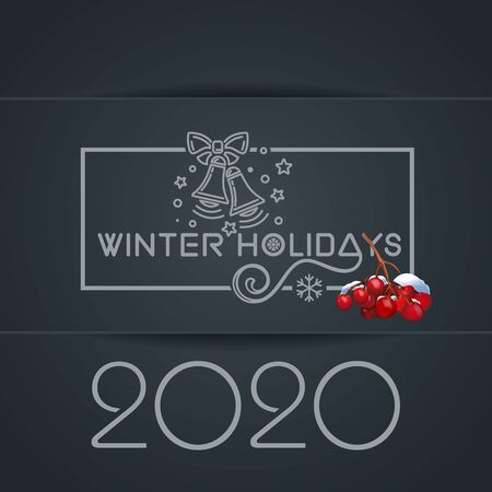 Winter holidays 2020. Merry Christmas lettering card with jingle bells and bunch of rowan. Vector illustration