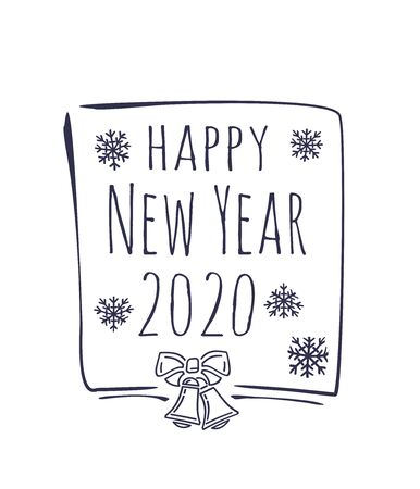 Happy New Year 2020. Hand drawn Christmas design with text on white background. Christmas doodle lettering isolated on white background. Vector illustration