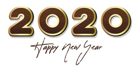 Stylized lettering for Year 2020. Happy New Year 2020. Wooden lettering with gold stroke. Vector illustration Illustration