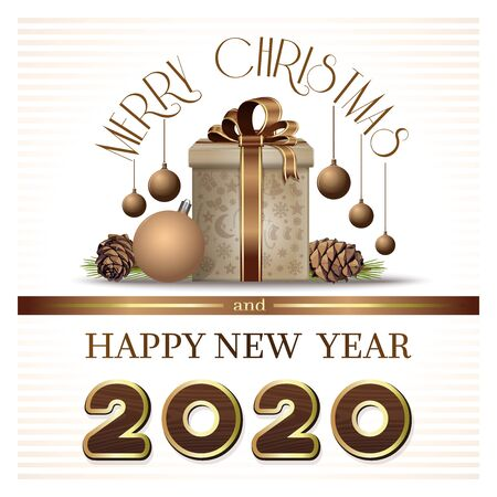 Greeting card in retro style for Year 2020. Merry Christmas and Happy New Year 2020. Vector illustration Illustration