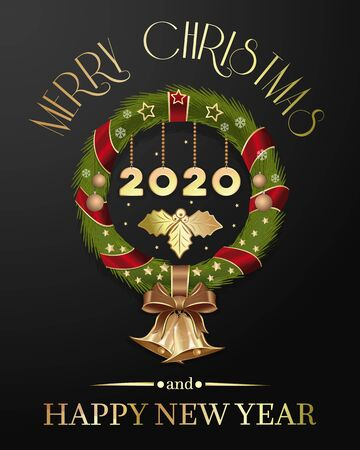 Christmas wreath 2020. Merry Christmas and Happy New Year. Christmas composition with Christmas wreath and jingle bells. Vector illustration isolated on a dark background Ilustração