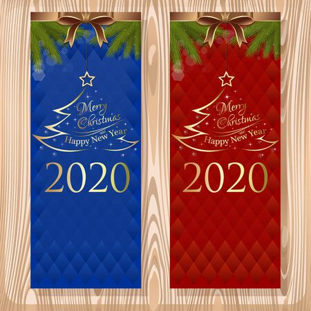 Christmas design set. Merry Christmas and Happy New Year 2020. Set vector greeting cards with ribbons, bows and fir branches on a wooden background